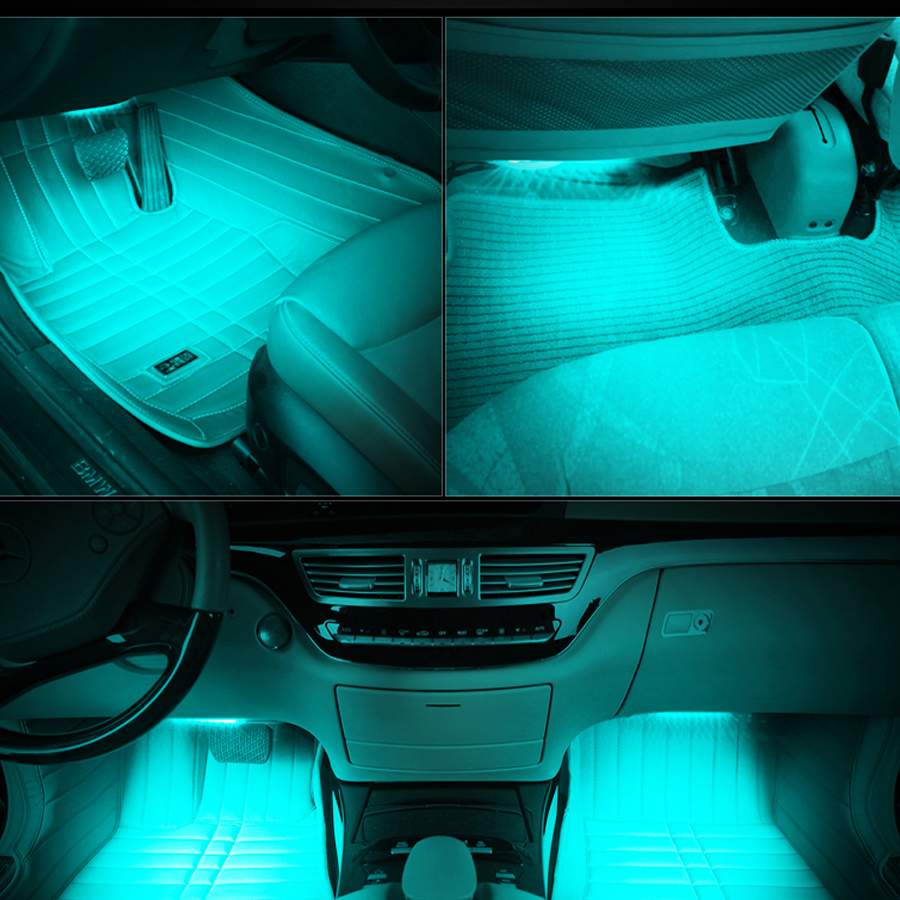 4x 9 led ice blue car charge interior floor decorative lights lamp 12v w switch ebay. Black Bedroom Furniture Sets. Home Design Ideas